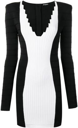 Balmain V-Neck Fitted Dress
