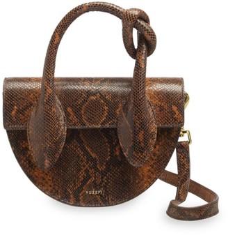 Yuzefi Dolores Snakeskin-Embossed Leather Top Handle Saddle Bag