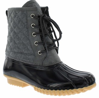 Sporto Womens Duck Boots with Lace-Up Closure (Delanie) Waterproof Insulated Mid-Calf Winter Boots for Comfort
