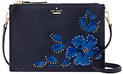 Kate Spade Cameron Street Clarise Leather Floral Stud Cross Body Bag, Blazer Blue