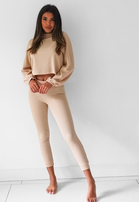 Missguided Camel Rib Balloon Sleeve Top And Joggers Loungewear Set
