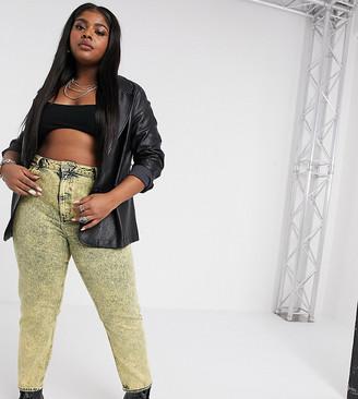 Asos DESIGN Curve Farleigh high waist slim mom jeans in lemon acid