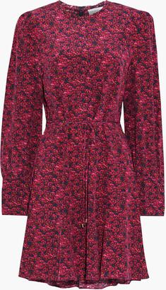 Rebecca Vallance Rosette Floral-print Silk Crepe De Chine Mini Dress