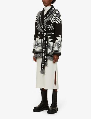 Alanui In The Dark geometric-pattern wool- and cashmere-blend cardigan