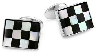 David Donahue Check Onyx Sterling Silver Cuff Links
