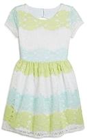 Us Angels Girls' Multicolor Cutout Lace Dress - Big Kid