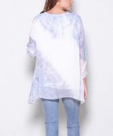 Paparazzi Blue Tie-Dye Sidetail V-Neck Top