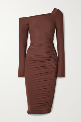 Alix Chambers One-shoulder Ruched Stretch-jersey Midi Dress - Brown