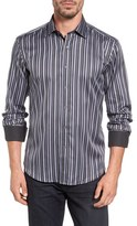 Bugatchi Men's Bugtachi Shaped Fit Variegated Stripe Sport Shirt