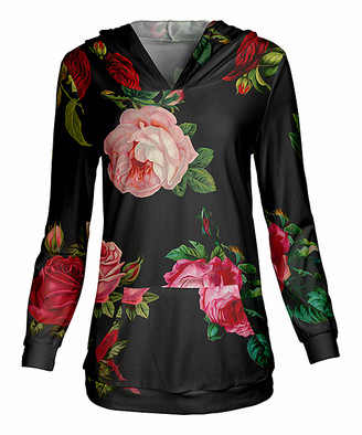 Lily Women's Sweatshirts and Hoodies RED - Red & Green Roses V-Neck Hoodie - Women & Plus