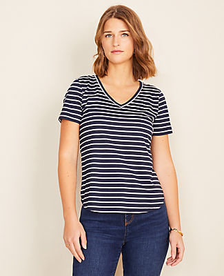 Ann Taylor Stripe Pima Cotton V-Neck Tee