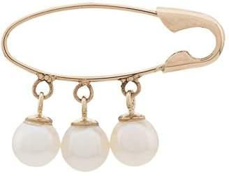 Loren Stewart 14kt gold Safety Pin pearl earring