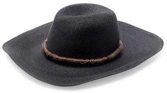 Brunello Cucinelli Leather-trim Straw Hat - Black