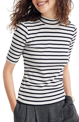 Madewell Sailor Stripe Ribbed Mock Neck Top