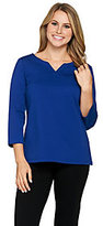 Joan Rivers Classics Collection As Is Joan Rivers Wardrobe Builders 3/4 Sleeve Top with Notch Neckline