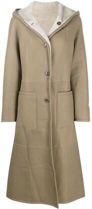 Liska Reversible Hooded Leather Coat