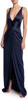 Naeem Khan Silk Deep V-Neck Gown