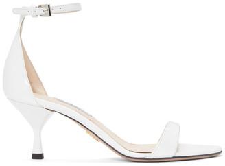 Prada White Patent Strap Sandals