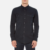 Msgm Msgm Reflective Logo Back Denim Shirt Black