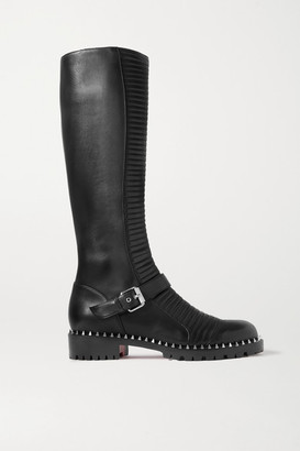 Christian Louboutin Meteorita 30 Studded Ribbed Leather Knee Boots - Black