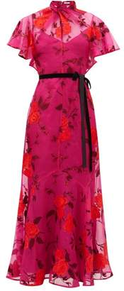 Erdem Celestina Rose-embroidered Silk-organza Gown - Womens - Pink Multi