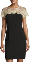 Chetta B Short-Sleeve Lace-Yoke Sheath Dress, Black/Gold