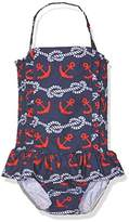 Rachel Riley Girl's Nautical Ruched Swimsuit