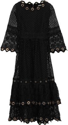 Maje Roso Tiered Eyelet-embellished Guipure Lace Dress