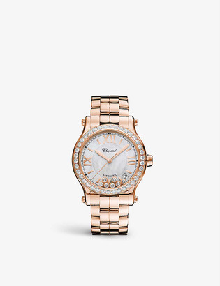 Chopard Happy Sport 18ct rose-gold, mother-of-pearl and 2.31ct full-cut diamond watch