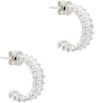 Rosie Fortescue Crystal-embellished white rhodium-plated hoop earrings