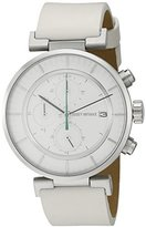 Issey Miyake Men's 'W' Quartz Stainless Steel and White Leather Casual Watch (Model: NY0Y001Y)
