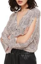 Topshop Petite Women's Hidden Leopard Shirt