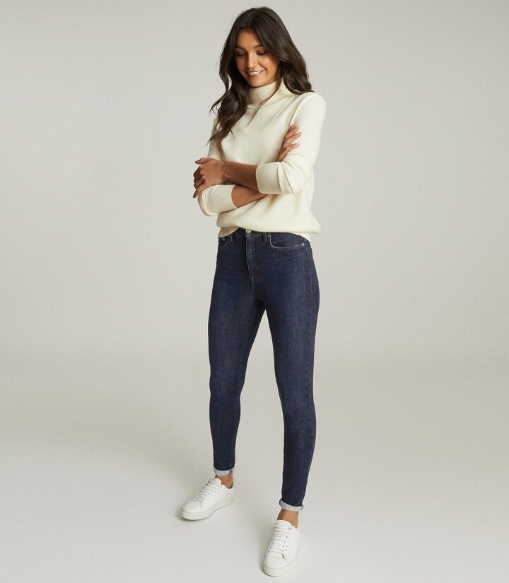 Reiss Skye - Bi-stretch High Rise Skinny Jeans in Indigo
