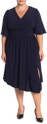 Brinker & Eliza Surplice Neck Elbow Length Sleeve ITY Dress (Plus Size)