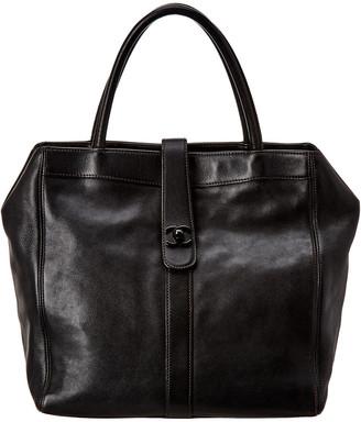 Chanel Black Calfskin Leather Turn Lock Tote