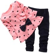 Qin.Orianna Baby Girls' Bowknot 2pcs Set Children Clothes Suit Top and Pants (, Pink)