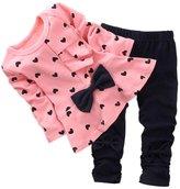 Qin.Orianna Shanshan Super Cute Baby Girl Bowknot 2pcs Set Children Clothes Suit Top and Pants