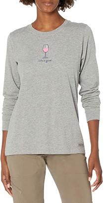 Life is Good Wine Glass Long Sleeve Vintage Crushertm Tee (Heather Grey) Women's T Shirt