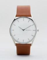 Skagen Slim Holst Leather Watch In Tan Skw6219