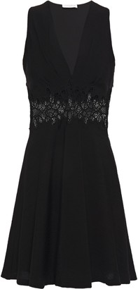 Sandro Elena Macrame Lace-paneled Woven Mini Dress