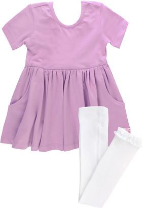 RuffleButts Girl's Lilac Twirl Bow Dress w/ Knit Tights, Size 0-4T