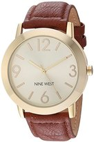 Nine West Women's Quartz Metal and Polyurethane Dress Watch, Color:Brown (Model: NW/1772CHHY)