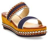 Christian Louboutin Montezuplage 60 Spiked Mixed Media Wedge Slides