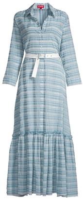 STAUD Rose Ruffle Hem Organza Maxi Dress
