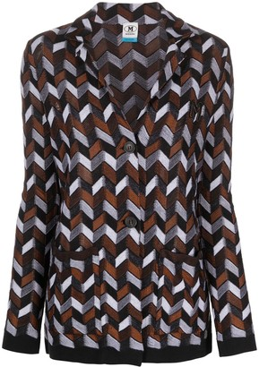 M Missoni Herringbone-Print Knitted Cardigan