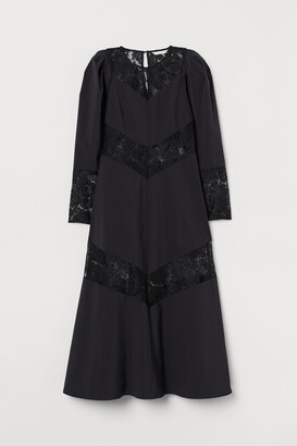H&M Lace-trimmed Dress - Black