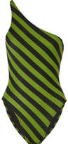 Norma Kamali Mio One-shoulder Striped Swimsuit - Leaf green