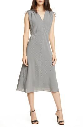 Lewit V-Neck Gingham Midi Dress