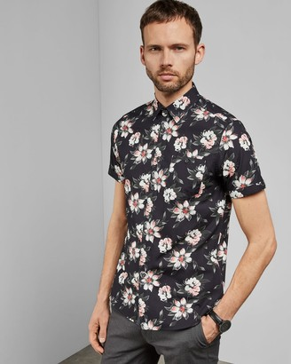 Ted Baker Floral Short Sleeved Cotton Shirt