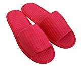 Waffle Open Toe Adult Slippers Cloth Spa Hotel Unisex Slippers for Women and Men Fuchsia